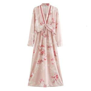 DHgate dresses women floral print evening party es v-neck ruched sashes sleeve casual long spring summer boho holiday maxi