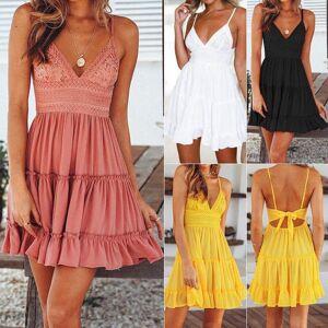 DHgate casual dresses 2021 boho beach women summer short mini sleeveless suspender dress backless open back lace bow evening daily