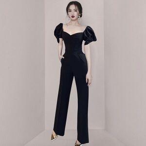 DHgate dresses women bow jumpsuits ladies overalls short sleeve v-neck high waist slim black evening party jumpsuit rompers