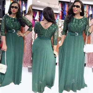 DHgate 2021african sequin dress women party gowns 2021 abayas mesh chiffon long dresses elegant lady robe ankara outfit evening vestido