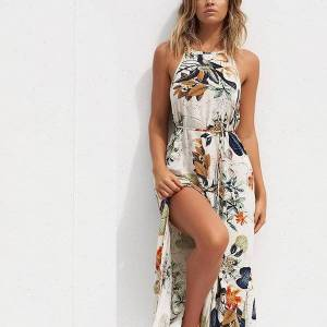 DHgate womens dresses women summer beach floral flower long sleeveless bohe ladies dresshalter leaves dress sukienki damskievestidos verano