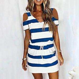 DHgate summer v neck sleeveless women dress bandage stripe printing loose vest sling casual sukienki letnie damskie