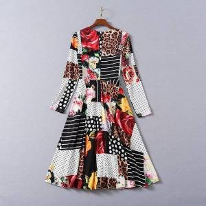 DHgate dresses est fashion spring summer women o-neck wild leopard print patchwork long sleeve casual beach club wear