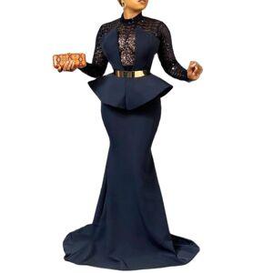 DHgate 2021elegant floor length long evening party dress women lace sheer long sleeve plus size tunic peplum maxi dresses new year