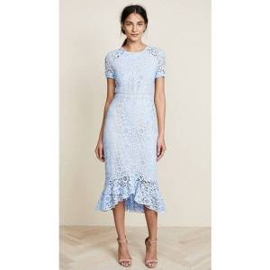 DHgate new spring summer women dresses long 3d flower embroidery fish tail lace blue short sleeve party robe femme high end quality sukienki