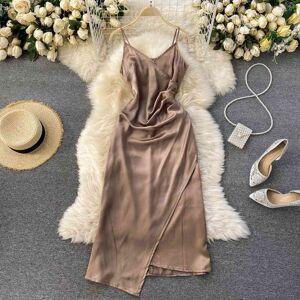 DHgate dresses croysier summer spaghetti strap v neck ruched slip satin vintage evening party elegant midi women clothes