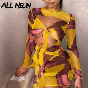 DHgate 2021allneon y2k aesthetics printing hollow out bandage front party dresses vintage e-girl o-neck transparent long sleeve dress