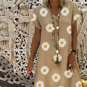 DHgate h40 sunflower print cotton amd womens dresses linen mini vintage summer loose v neck floral short sleeve party