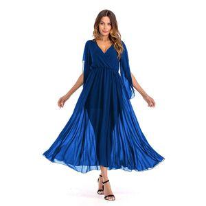 DHgate casual dresses summer maxi women v neck short sleeve chiffon solid long evening party vestidos empire formal unt2