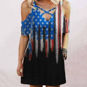 DHgate harajuku summer flag print womens dresses v neck cross strapless casual mini vestidos de mujer sukienki damskie