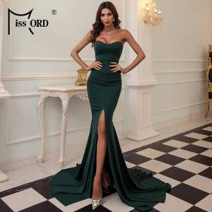 DHgate missord 2021 strapless evening party dress female wrapped chest asymmetric maxi dress backless long women dresses ft1683-3