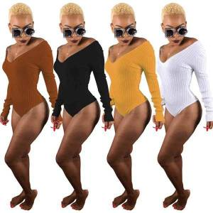 DHgate women's jumpsuits & rompers pit strip jumpsuit european and american fashion deep v-neck long sleeve fabric style fit type pattern deco