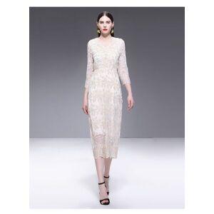 DHgate casual dresses summer gold thread crocheted fairy lace bodycon vestidos verano mujer midi party sukienki letnie f0gs