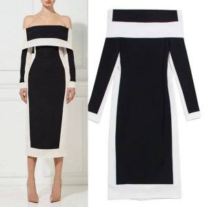 DHgate runway dresses europe and the united states high-quality stitching one-line neck long-sleeved party dress(s-3xl) c60n