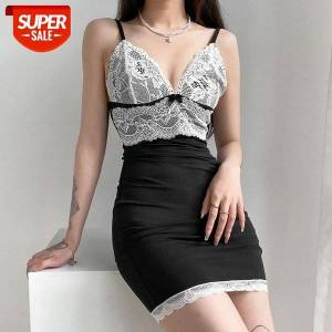 DHgate female lace splicing slim sling mini dress summer wild chic deep v-neck wrapped hip bodycon for streetwear #do3r