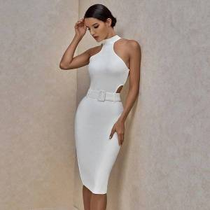 DHgate white bandage summer arrival women dresses midi bodycon club celebrity evening party
