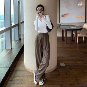 DHgate capris thin 2021 curtain wild loose women's wide leg spring and summer korean casual pants