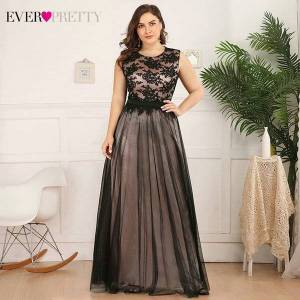 DHgate plus size lace evening dresses long ever pretty a-line o-neck sleeveless appliques tulle formal party gowns robe de soiree 2021