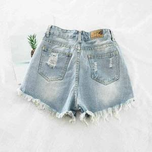 DHgate fashion women's clothing washed denim shorts summer loose wild high waist student sequins hole h836