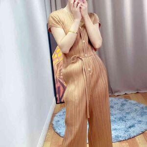 DHgate coats summer women's bodysuit miyak fold fashionable wild slim straight-leg wide-leg jumpsuit
