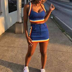 DHgate casual dresses 2021 summer 2 piece sets women crop tank bodycon skirt set 2 two female mini striped  outfit 8212