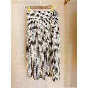 DHgate geometrical printed split women summer fashion wild sashes lady midi skirt