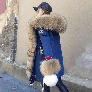 DHgate women's fur & faux cartoon embroidery thick denim jacket ladies hoodies raccoon collar plus velvet women warm long cotton suit coat det