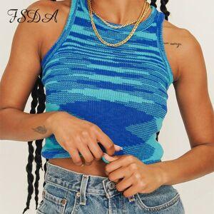 DHgate 2021 knit crop women sleeveless y2k basic t shirts casual summer off shoulder blue o neck tank vintage fashion