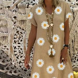DHgate h40 sunflower print cotton amd women dress linen mini vintage summer casual loose v neck floral short