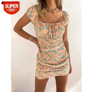 DHgate women sweet fresh style mini dress ladies summer wild floral printed short sleeve square collar lace-up slim for vacation #mg6p