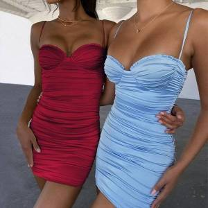 DHgate strap tank robe ete women dresses femme ruched wrap sukienki damskie corset bodycon elegant vestidos cortos