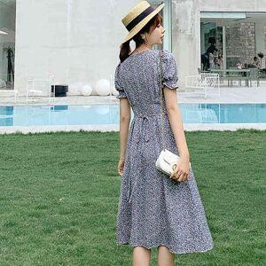 DHgate dresses summer vestido floral short sleeve fashion vintage arrival luxury elegant slim women evening party es