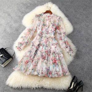DHgate two piece dress spring runway fashion complete floral sleeve frilly mini dress mesh elegant women's bathrobe party b0hw