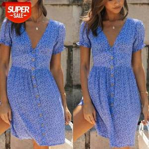 DHgate women summer floral printed dress trendy wild beach short sleeve v-neck stylish button fitting mini for daily #rt2m