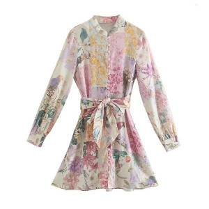 DHgate casual dresses women floral print shirt-style es 2021 cotton sashes button tassel v-neck long-sleeve spring summer party evening m