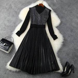 DHgate dresses european and american women's wear winter style drilling ma3 jia3 long - sleeved pleated dress fashion two-piece ng3n