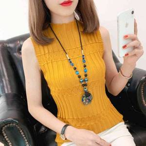 DHgate women's tanks & camis sleeveless knitted vest women spring summer wild  tank elastic slim female solid fashion knit casual maille femme