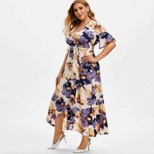 DHgate plus size casual boho women dresses print short sleeve ruffle floral irregular dress sukienki damskie duze rozmiary