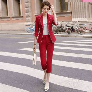 DHgate spring and summer women's pants suits workwear elegant lady blazer jacket small suit wild trousers two-piece 201009