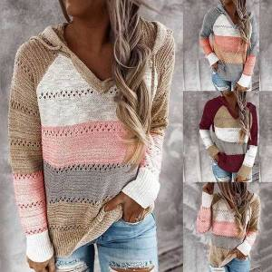DHgate women's sweaters fashion  women casual t shirt patchwork v-neck t-shirts long sleeves tee plus size hooded ladies s8ok