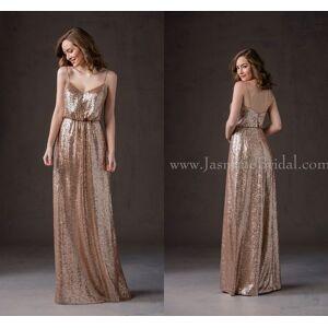 DHgate gold 2021 bridesmaid dresses gold spaghetti strap a line sequins long junior bridesmaid dresses l184065