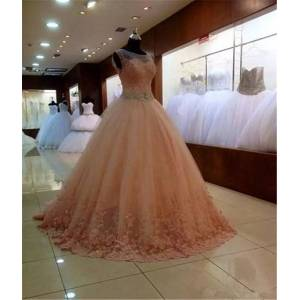 DHgate 2018 new ball gown scoop sheer neck lace appliques ball gown quinceanera dresses cap sleeves lace-up sweet 16 dress q50