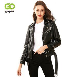 DHgate goplus women's moto biker jacket rivet adjustable waist womens leather jackets and coats veste en cuir femme kurtka damska c9528