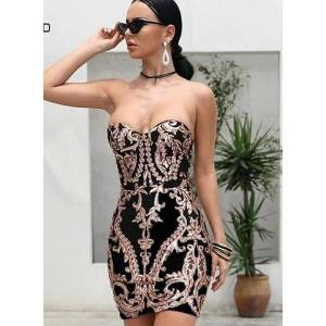 DHgate factory direct foreign trade 2020 european and american womens strapless off-shoulder mini sequined dress