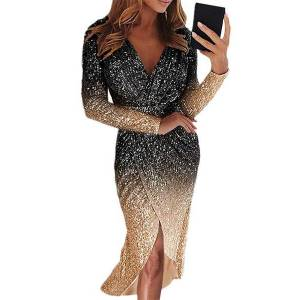 DHgate 2020 womens european and american-style cross-border maxi evening dress long-sleeve gradient colored sequined dinner dress