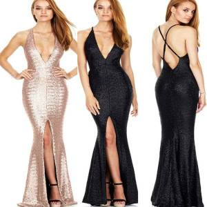 DHgate 2019 european and american-style deep v-neck strappy evening gown slit backless nightclub sequined evening gown dress dress