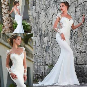 DHgate robes de mariée sheer mermaid wedding dresses with long sleeve 2020 illusion o-neck lace applique trumpet beach bride dress