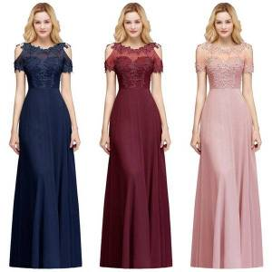 DHgate babyonlinedress luxury lace pearls long evening dresses 2020 tulle beaded party prom dresses elegant evening prom gowns cps966