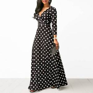 DHgate women polka dot long sleeve boho dress elegant vintage women dresses evening party v neck maxi long dress fashion ladies dresses