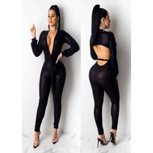 DHgate 2019 explosion models tight-fit high elastic deep v long-sleeve backless womens piece pants